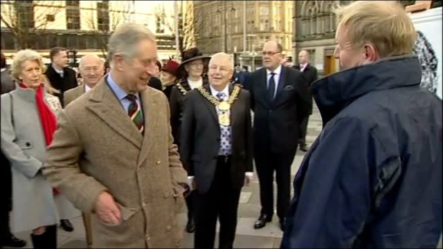 prince charles promotes wool trade during bradford visit **pop music continues** prince charles chatting with artist in town square who stands by... - staffelei stock-videos und b-roll-filmmaterial