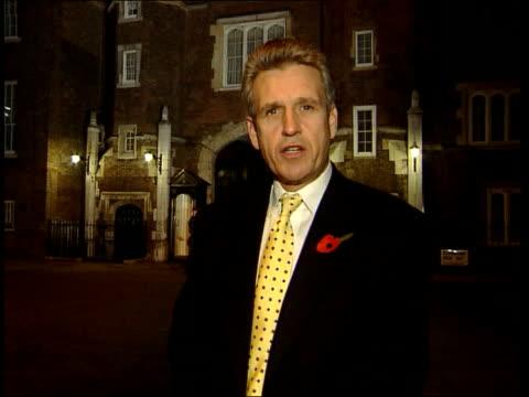 prince charles returns: opinion poll results:; b)nat: nicholas owen itn england: london: st james's palace: ext/night owen i/c - ideas stock videos & royalty-free footage