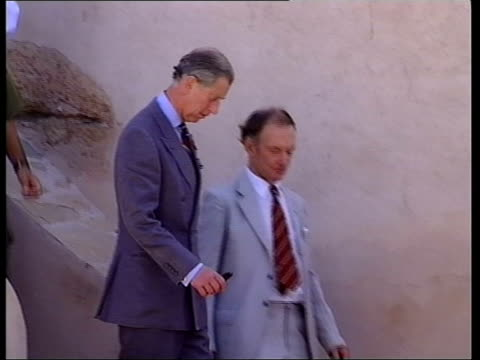 vidéos et rushes de prince charles rumour revealed in italy; bbc pool oman: muscat: ext prince charles, prince of wales along down steps with official lms prince charles... - bavardage