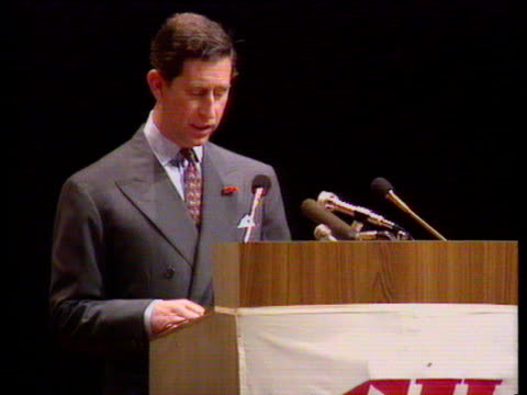 prince charles speaks at confederation of british industry conference about his absence from taj mahal visit with diana india 11 feb 92 - taj mahal stock videos and b-roll footage