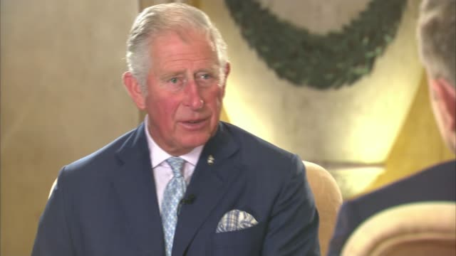 vídeos de stock e filmes b-roll de prince charles speaks out about the threat to the world's oceans; prince charles, prince of wales interview sot - the way we've developed everything,... - realeza