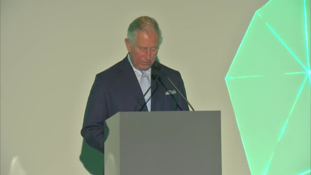 Prince Charles speech at launch of New Plastics Economy Innovation Prize ENGLAND London Saatchi Gallery INT Introductory speech SOT / Prince Charles...