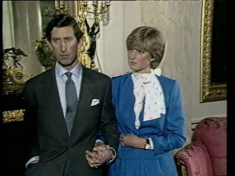 Prince Charles talks of falling in love with Diana following announcement of their engagement London 24 Feb 81