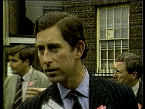 prince charles talks to press about his newborn son prince william's health outside st mary's hospital london; 22 jun 82 - new life stock videos & royalty-free footage