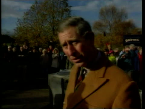 prince charles tours flood hit areas in york itn yorkshire york ext helicopter bringing prince of wales to york to visit flood affected areas zoom in... - principe carlo principe del galles video stock e b–roll