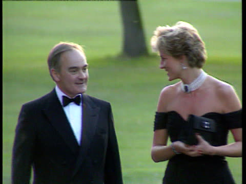 Prince Charles TV confession ITN London Princess of Wales being greeted by Peter Palumbo at charity event CMS Princess shaking hands
