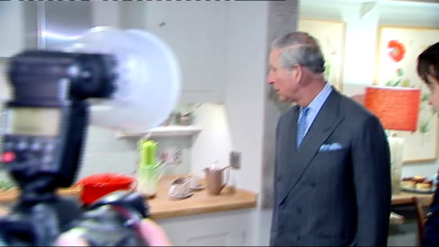 prince charles visiting ideal home exhibition prince charles and others walking over water feature and meeting people at wool stand / prince of wales... - wool gathering stock videos & royalty-free footage