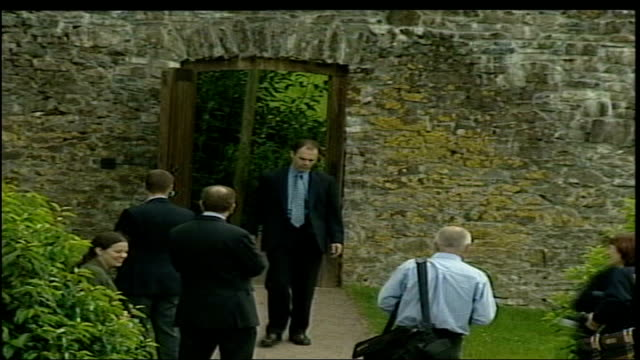 prince charles visits aberglasney gardens pool carmarthenshire llangathen aberglasney gardens ext tgv along thru gardens and chats with people in... - prince stock videos and b-roll footage