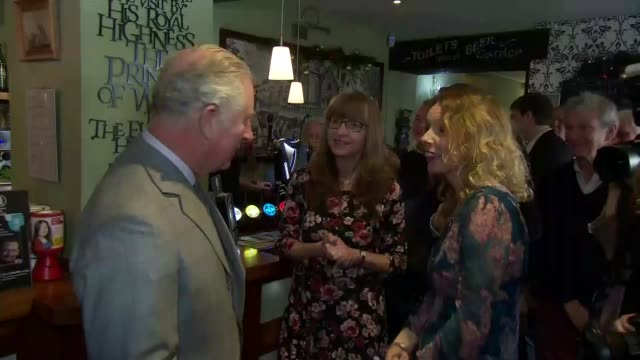Prince Charles visits community pub in Gloucestershire ENGLAND Gloucestershire Hillesley The Fleece Inn INT Prince Charles Prince of Wales hands pint...