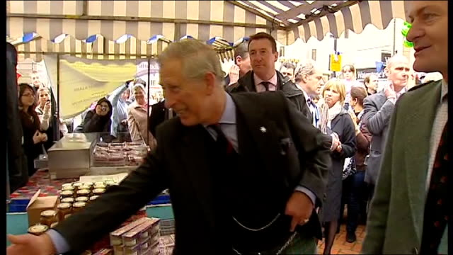 Prince Charles visits farm market in Perth SCOTLAND Perth EXT Prince Charles dressed in kilt out of car and shakes hands with officials / Charles...
