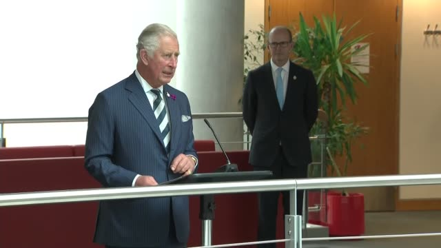 prince charles visits gchq headquarters in cheltenham uk cheltenham prince charles prince of wales speech during visit to gchq gloucestershire... - gloucestershire stock videos and b-roll footage