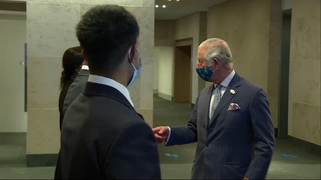 prince charles visits goldman sachs' european headquarters in london; england: london: city of london: goldman sachs: prince charles, prince of wales... - lighting technique stock videos & royalty-free footage