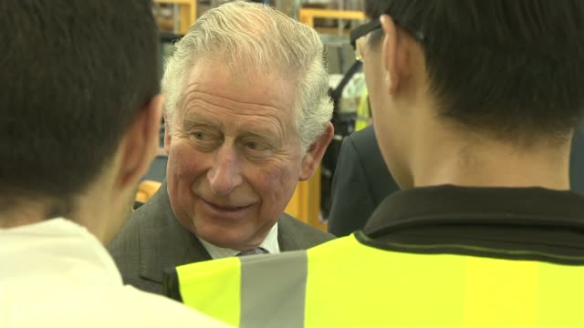 prince charles visits london electric vehicle company taxi factory england warwickshire ansty london electric vehicle company photography*** prince... - warwickshire stock videos & royalty-free footage