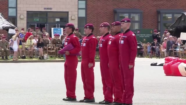 prince charles visits merville barracks parachutists red devils marching then standing to attention / charles meeting red devils / pegasus statue /... - pegasus stock videos & royalty-free footage