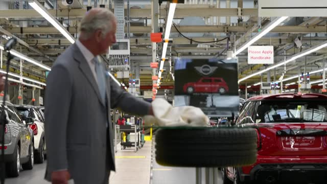 prince charles visits mini factory in oxford; part 2 of 2 england: oxford: cowley: mini plant: int prince charles, prince of wales speech sot - we... - durability stock videos & royalty-free footage