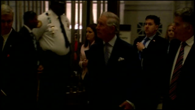 stockvideo's en b-roll-footage met prince charles visits national archives usa washington dc national archives int prince charles prince of wales along to view 1297 magna carta and... - national archives washington dc