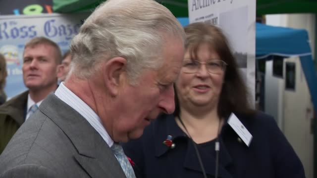 prince charles visits ross-on-wye to open the gilpin 2020 festival; england: herefordshire: ross-on-wye: ext prince charles, prince of wales talking... - チャールズ皇太子点の映像素材/bロール