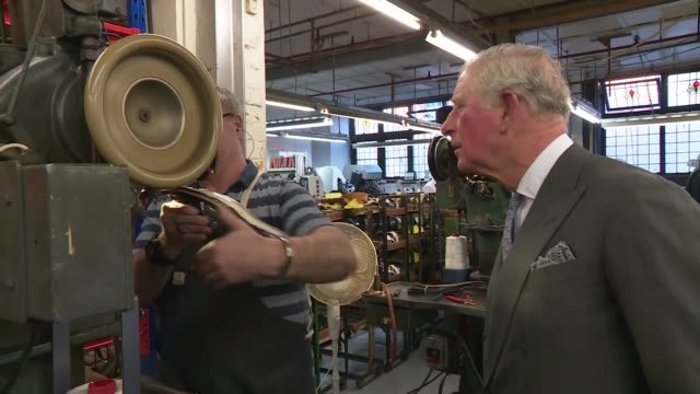 prince charles visits shoe manufacturers tricker's watches shoes being made unveils plaque england northamptonshire northampton tricker's int prince... - northampton stock-videos und b-roll-filmmaterial