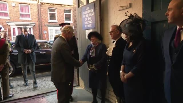 vídeos y material grabado en eventos de stock de prince charles visits shoe manufacturers tricker's, watches shoes being made, unveils plaque; england: northamptonshire: northampton: tricker's ext... - northamptonshire