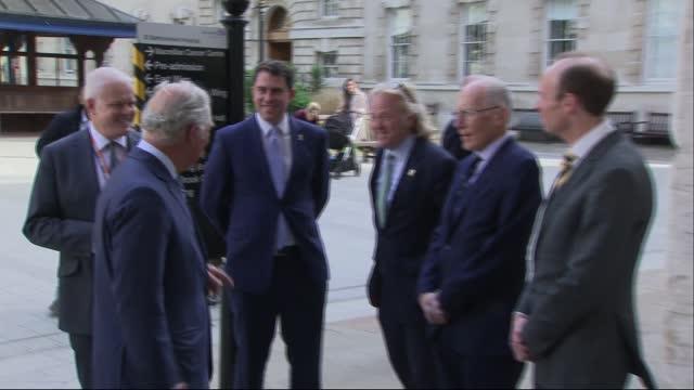 prince charles visits st bartholomew's hospital; england: london: st bartholemew's hospital: ext prince charles, prince of wales meeting hospital... - content stock videos & royalty-free footage
