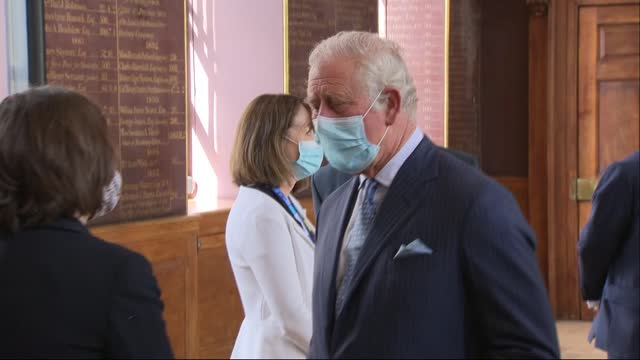 prince charles visits st bartholomew's hospital; england: london: st bartholemew's hospital: int prince charles, prince of wales along towards up... - content stock videos & royalty-free footage