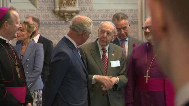 prince charles visits st patricks cathedral in armagh northern ireland armagh st patrick's cathedral int prince charles prince of wales chatting with... - prince stock videos and b-roll footage