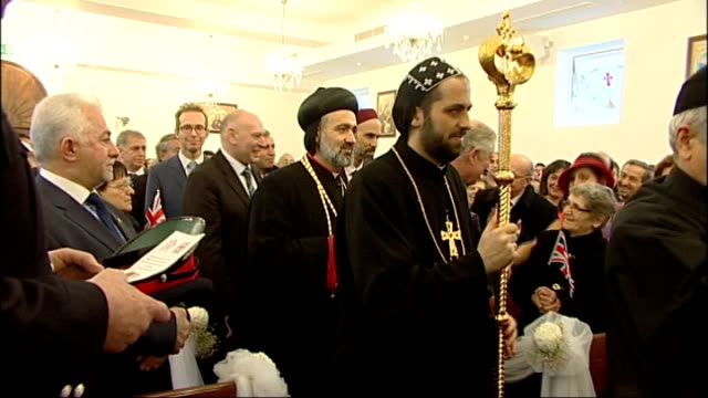 Prince Charles visits Syriac Orthodox Church with Prince of Jordan **Music heard SOT** People along during church service / Charles and Ghazi along...