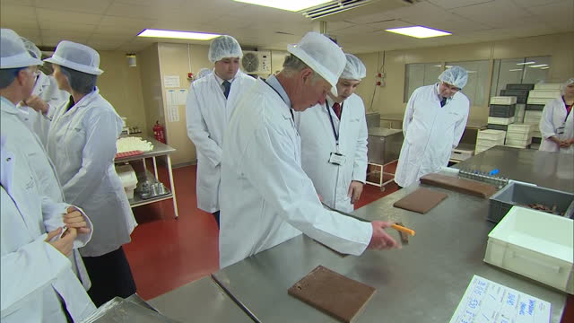 prince charles visits the house of dorchester chocolate factory shows interior shots prince charles cutting slabs of chocolate with employees on... - chocolate factory stock videos & royalty-free footage