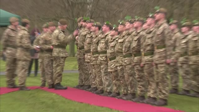 Prince Charles visits the Mercian Regiment in Bulford ENGLAND Wiltshire Bulford EXT Car arrives / Prince Charles in soldier's uniform from car and...