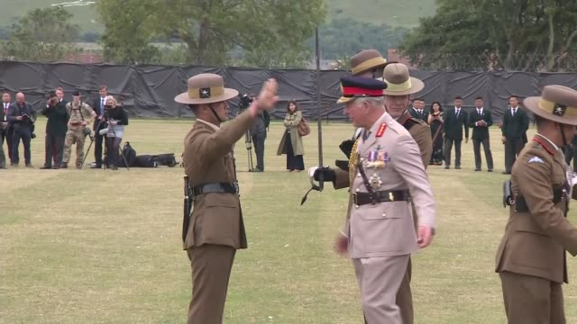 prince charles visits the royal gurkha rifles; england: kent: folkestone: ext prince charles, prince of wales along as chatting with officers /... - sergeant stock videos & royalty-free footage