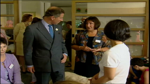 prince charles visits ty hafan children's hospice pool sully ty hafan children's hospice prince charles greets hospice staff and child patients / tgv... - music therapy stock videos & royalty-free footage