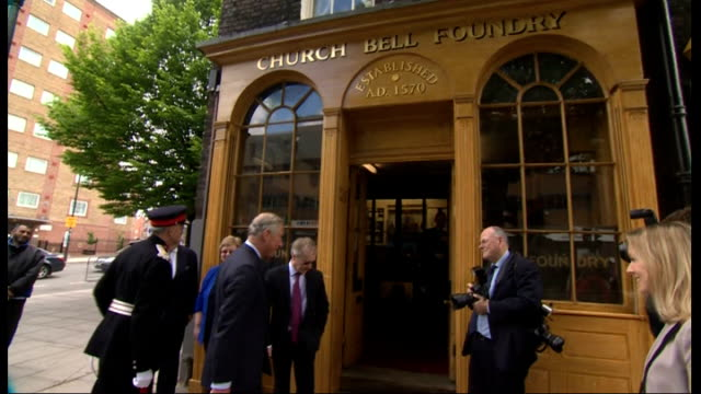 prince charles visits whitechapel bell foundry england whitechapel london ext car pulls up and prince charles gets out is greeted and shakes hands... - foundry worker stock videos and b-roll footage