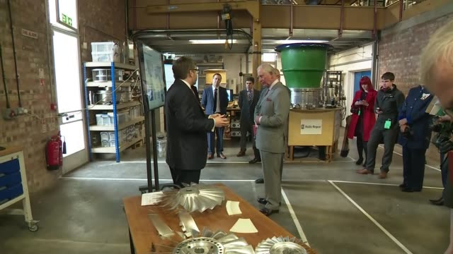 prince charles visits whittle laboratory in cambridge england university of cambridge whittle laboratory int prince charles prince of wales and... - propeller stock videos & royalty-free footage