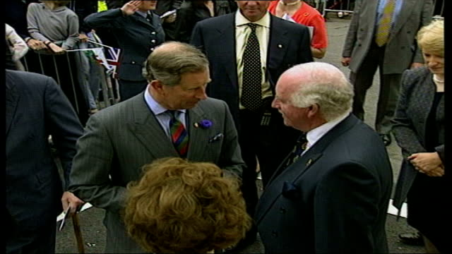 prince charles walkabout in cwmaman; htv pool wales: mid glamorgan: aberdare: cwmaman ext gvs his royal highness prince of wales on walkabout in... - mid wales stock videos & royalty-free footage