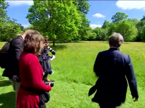 Prince Charles walking round Wildflower Meadow in Highgrove and making speech Prince Charles walk and Speech at Meadow on June 05 2013 in Gloucester...