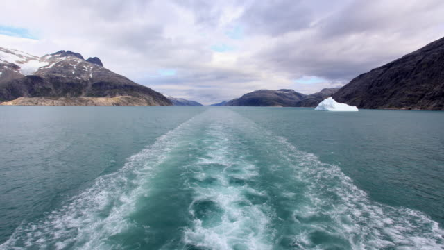 t/l rear pov prince christian sound seen from boat, day to dusk / greenland - boat point of view stock videos & royalty-free footage