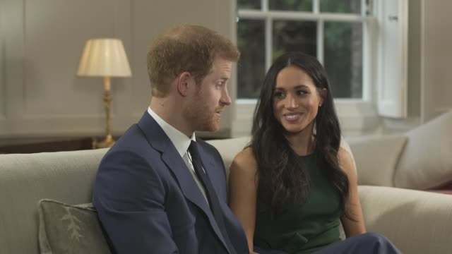 Prince CUTAWAYS Harry and Meghan Markle engagement interview including Mishal Husain asking questions CUTAWAYS Prince Harry and fiancee Meghan Markel...
