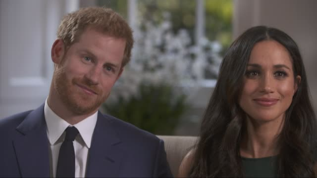 Prince CUTAWAYS Harry and Meghan Markle engagement interview including Mishal Husain asking questions ENGLAND London Prince Harry and fiancee Meghan...