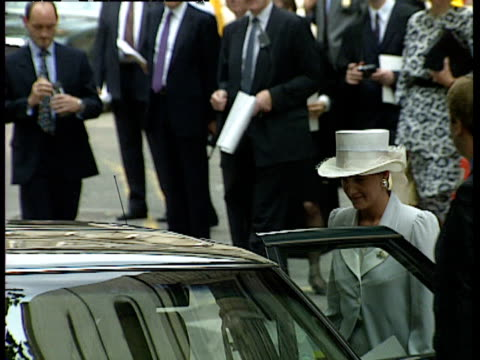Prince Edward and Sophie Rhys Jones exit church and get into car following wedding of Lady Sarah Armstrong Jones and Daniel Chatto London 14th July...