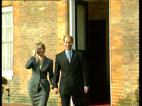 prince edward and sophie rhys jones posing for photographers after announcing their engagement at st james' palace engagement of prince edward; 06... - sophie rhys jones, countess of wessex stock videos & royalty-free footage