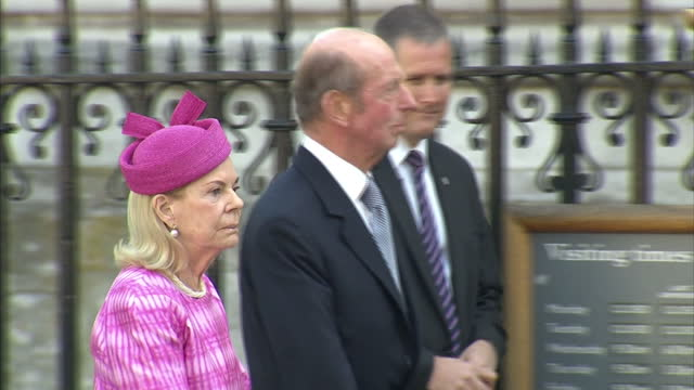 prince edward duke of kent and katharine duchess of kent arrival followed by prince michael of kent and princess michael of kent who talks to dr john... - princess michael of kent stock videos and b-roll footage