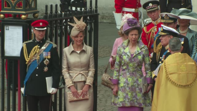 prince edward, earl of wessex and sophie, countess of wessex, princess anne, the princess royal, prince andrew, the duke of york at the royal wedding... - sophie rhys jones, countess of wessex stock videos & royalty-free footage