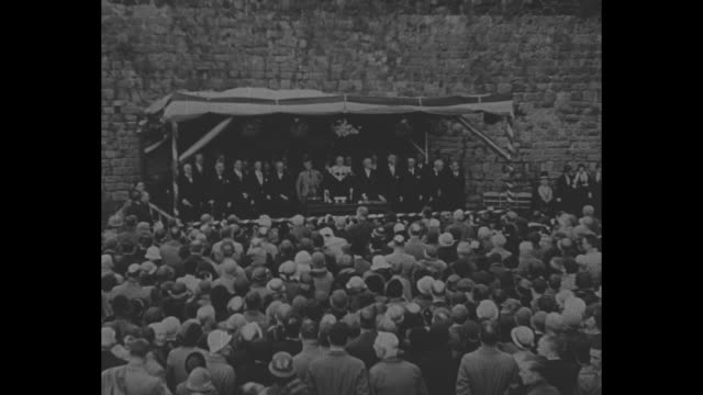 prince edward finishes speech / he and other dignitaries continue standing on stage while band plays scottish national anthem / [note exact day not... - prince stock videos and b-roll footage