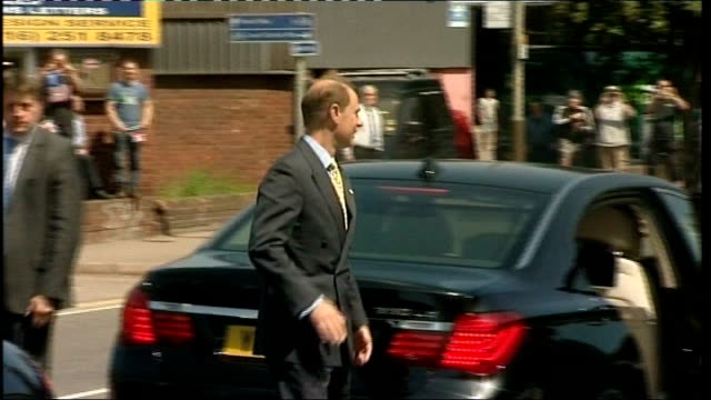 prince edward opens leicester leisure centre; **music heard sot** prince edward, earl of wessex getting out of car and chatting to soldier / edward... - prince edward, earl of wessex stock videos & royalty-free footage