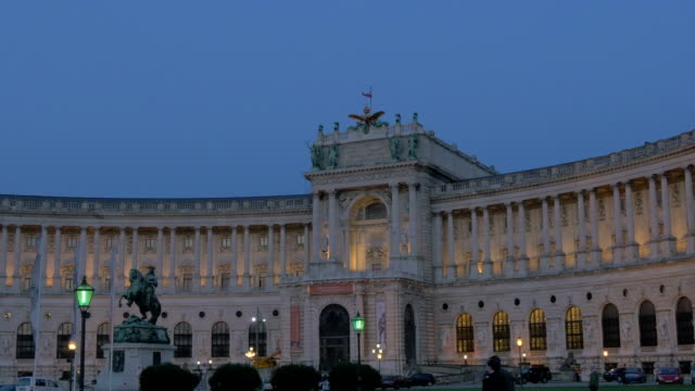 prince eugene of savoy statue. hofburg palace at night.wide shot. - the hofburg complex stock videos & royalty-free footage
