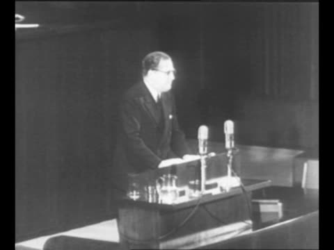 prince faisal of saudi arabia stands at podium and speaks to a session of the united nations general assembly / delegate herschel johnson of the us... - 1947 stock videos & royalty-free footage