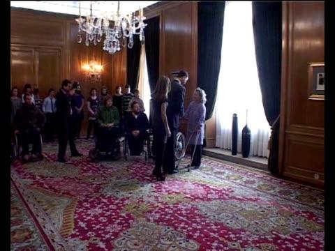 prince felipe and princess letizia recive in hearing a paraplegic association. madrid, spain . - paraplegic stock videos & royalty-free footage