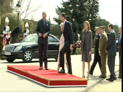 prince felipe of spain and princess letizia receive charles prince of wales and camilla duchess of cornwall at the palacio del pardo on day one of a... - small group of animals stock videos & royalty-free footage