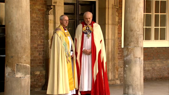 Prince George christened at St James's Palace Arrivals ENGLAND London St James's Palace EXT GVs Chapel Entrance with Archbishop of Canterbury Justin...
