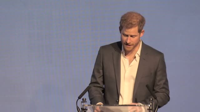 Prince Harry addresses an audience in London to talk about the future of the Royal Foundation